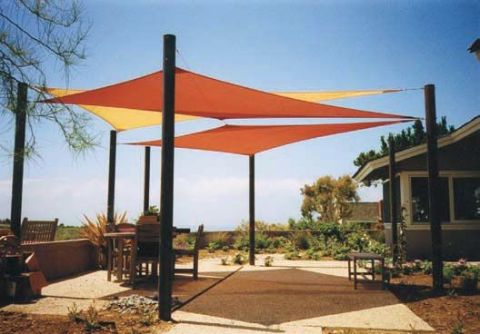More Than Just Shade Sails Offer A Stylish Play Of Color Over Patio Being Slightly Translucent The Colors Compound Themselves
