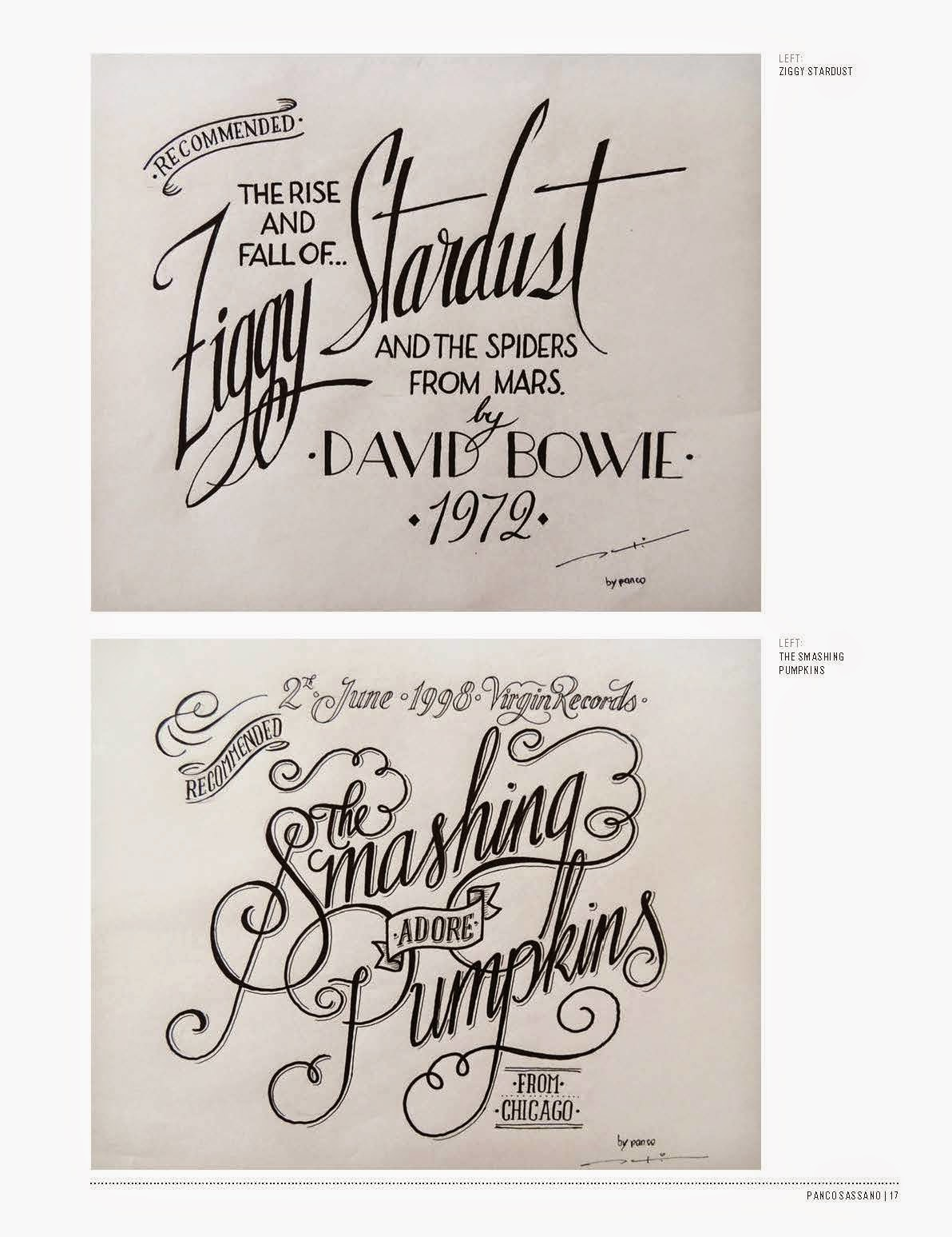 Ziggy Stardust And The Smashing Pumpkins Hand Drawn Type By Panco Sassno Featured In Drawing